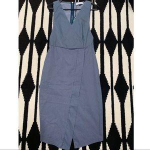 ASOS Closet London V Neck Denim Striped Midi Dress